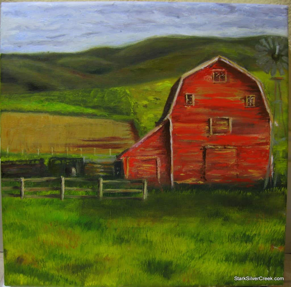 Oil-painting-red-barn-great-progress