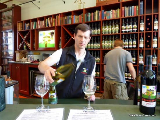Scott pours wine at L'Ecole winery while he educates us on the Walla Walla wine region.