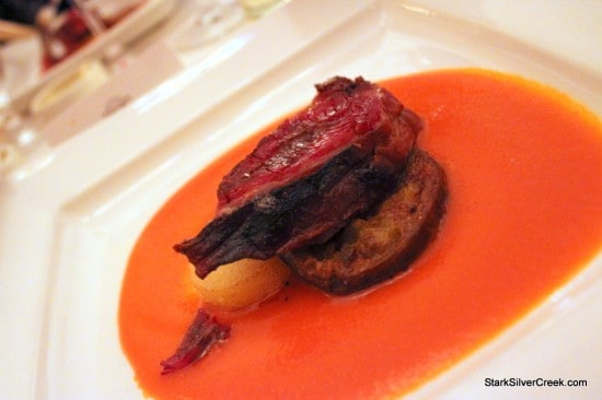 """Slow Cooked Lamb Confit with Poached Tomato """"Gñatua"""" Sauce paired with Corison Cabernet Sauvignon, Napa Valley '00"""
