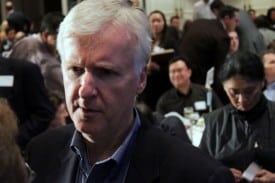 Film director James Cameron talks to Churchill Club members before taking the stage with Google CEO Eric Schmidt