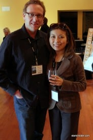 Marc Lhormer and Loni Kao catch up over a glass of wine between films at the NVFF launch celebration.