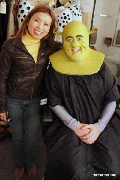 Loni strikes a half-Farquaad next to Eric Petersen, who's almost ready for the stage.