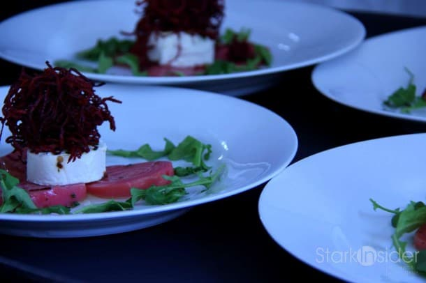 Say it twice fast: Roasted Coke Farms Chioggia Beets with Herb Marinated Sonoma Goat Cheese and Wild Arguula.