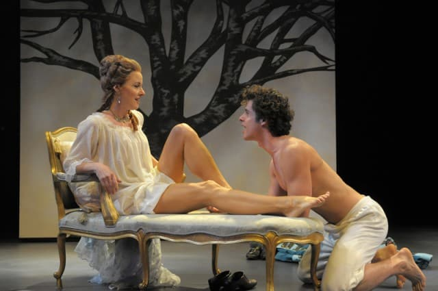 Émilie du Châtelet (Rachel Harker) spends time with her lover, Saint-Lambert (Miles Gaston Villanueva