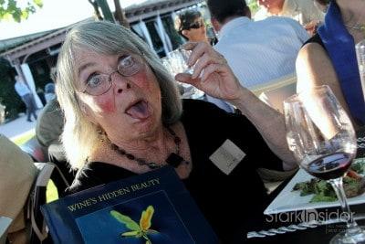 Author Sondra Barrett ('Wine's Hidden Beauty') demonstrates the effects of Petite Sirah.