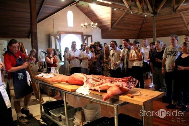 Butchery demonstration at Charles Krug Winery.