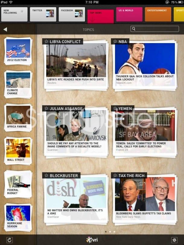 Evri for iPad - Home Screen