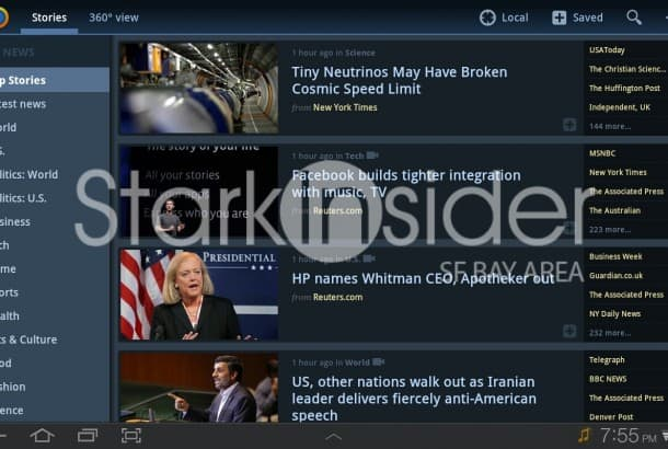 News360 for Android interface
