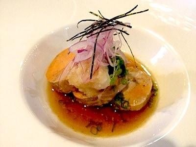 Steamed monkfish liver rivals the finest foie gras