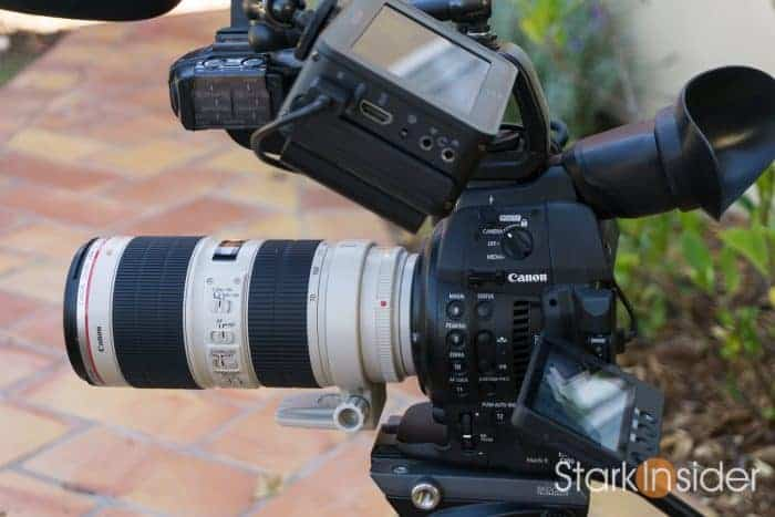 Canon C100 II with Canon 70-200mm f/2.8 telephoto lens