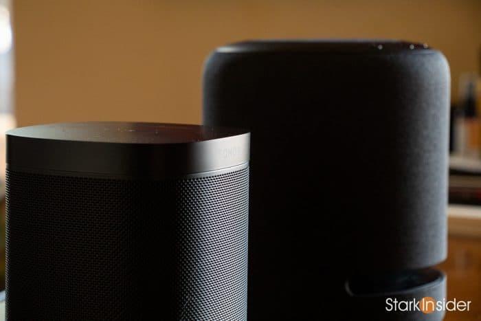 Sonos One and Amazon Echo Studio smart speakers.