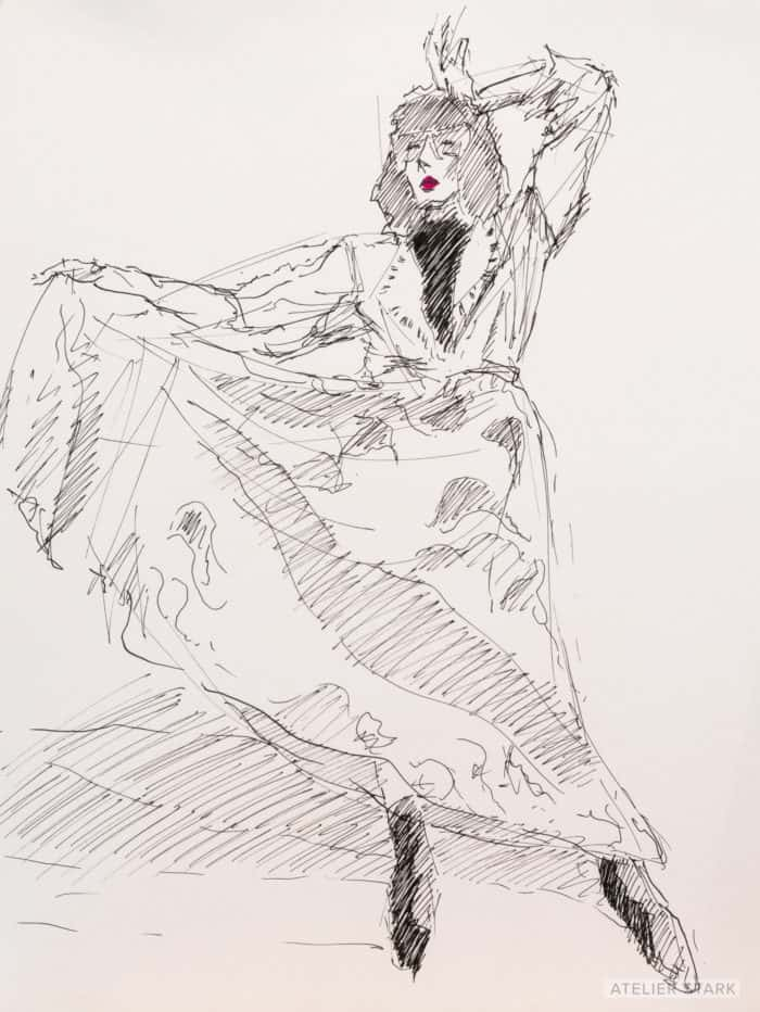 Ami in Dress, ink on paper, 12×9 inches, ©️ Stark 2020