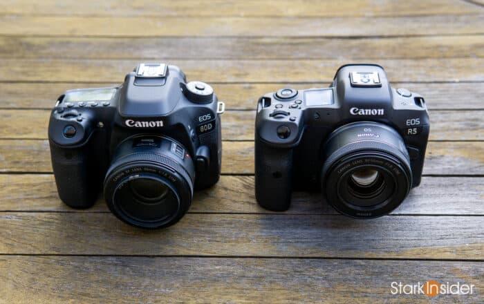 Canon EOS R5 next to Canon EOS 80D