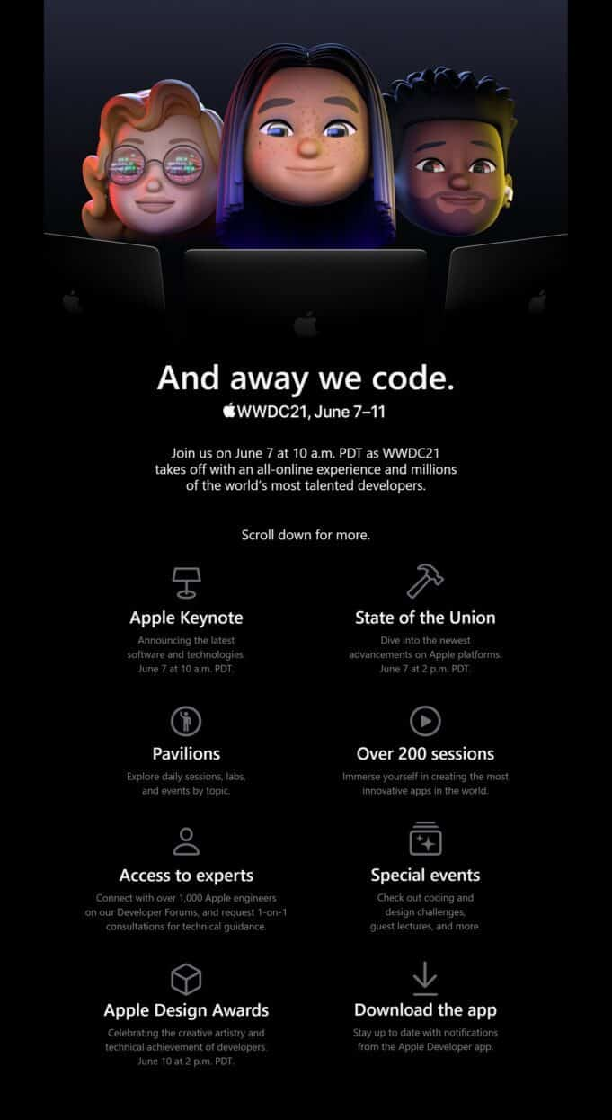 Apple WWDC 2021 - And away we code. - Schedule, all-online event