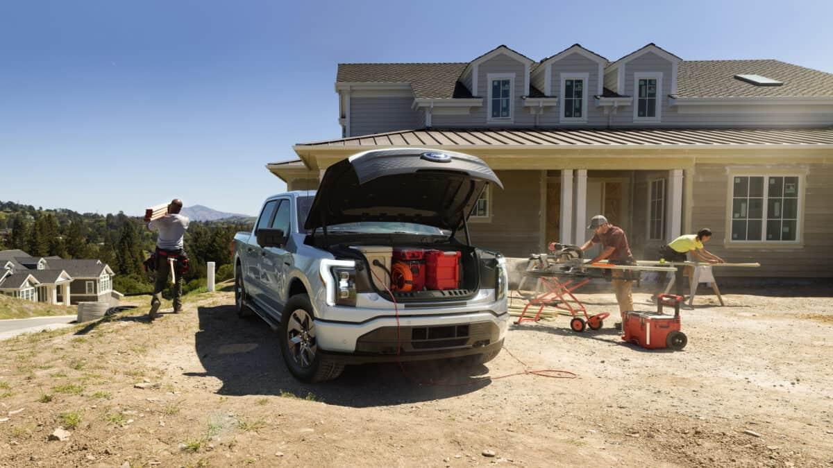 Ford F-150 Lightning Mega Power Frunk on construction site homebuilding