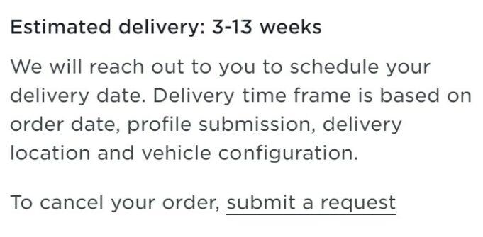 Tesla Model Y EDD 3-13 weeks