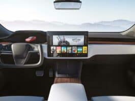 2021 Tesla Model S Plaid updated interior with yoke steering wheel option