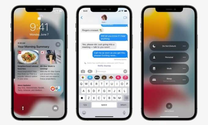 Apple Notifications iOS 15 - morning summary, messages notify away, Focus profiles